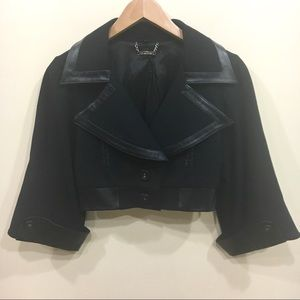 [bebe] Cropped jacket with leather trim